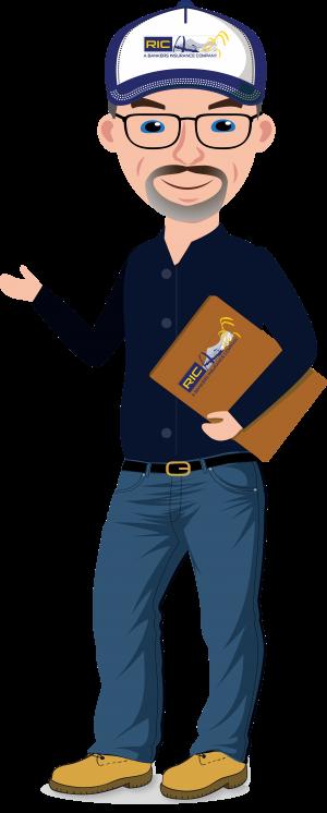 RIC avatar, cartoon man holding clipboard.