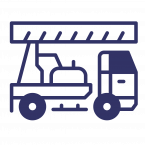 Water well drilling truck icon.